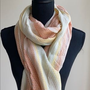 Linen Summer Scarf with Stitching Details